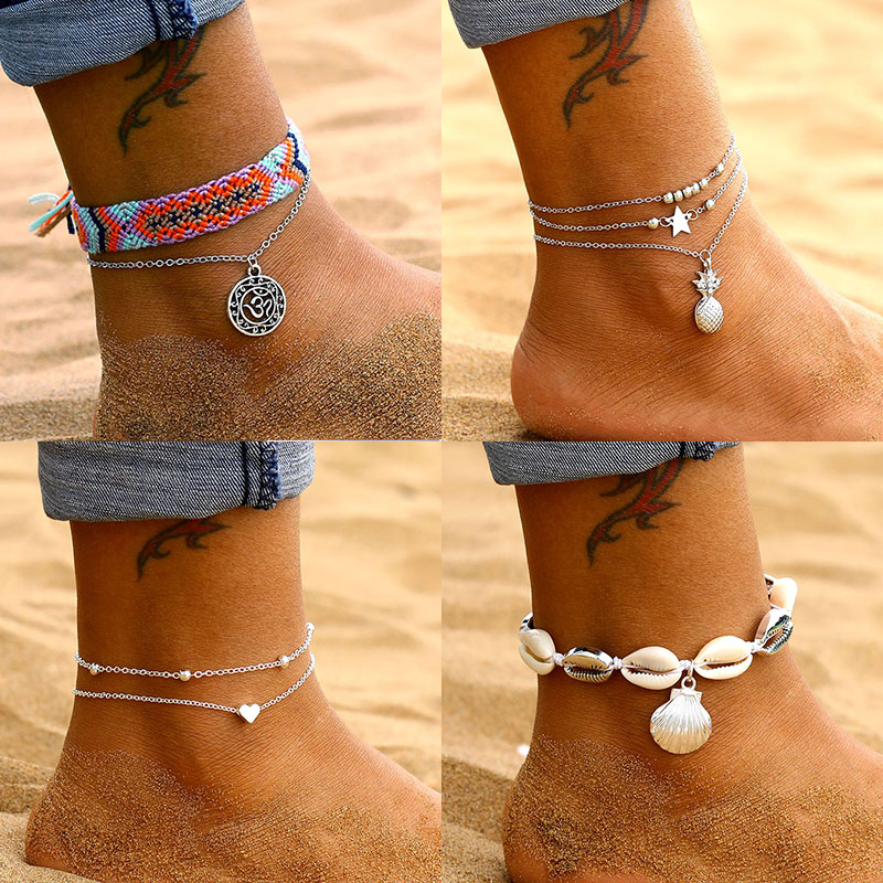 Antique Silver Mushroom Corn Pendant Anklets for Women Anklet Bracelets Bohemian Foot Ocean Jewelry Drop Shipping 1 PCs TTO Anklets