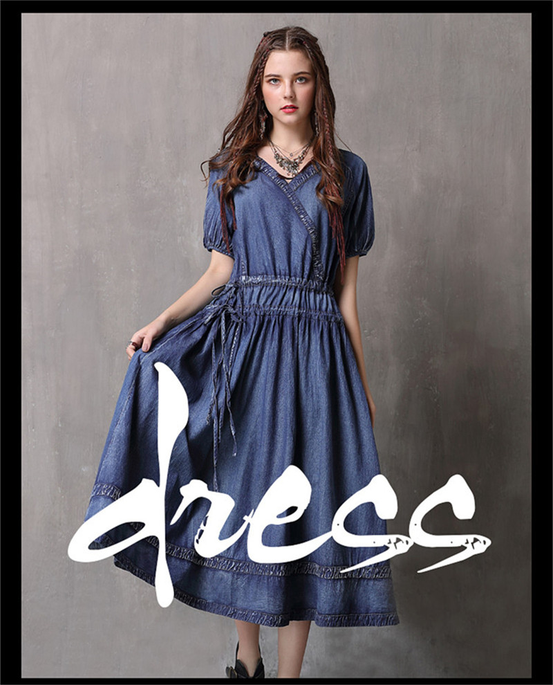 Adjustable Waist Summer Dresses 2019 Vintage Denim Women V-Neck Dress Hollow out  Lantern Sleeve Swing Hem Vestidos (1)