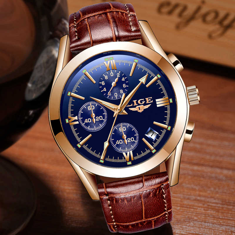 LIGE Watch Men Sport Quartz Fashion Leather Clock Mens Watches Top Brand Luxury Waterproof Business Watch Relogio Masculino+Box