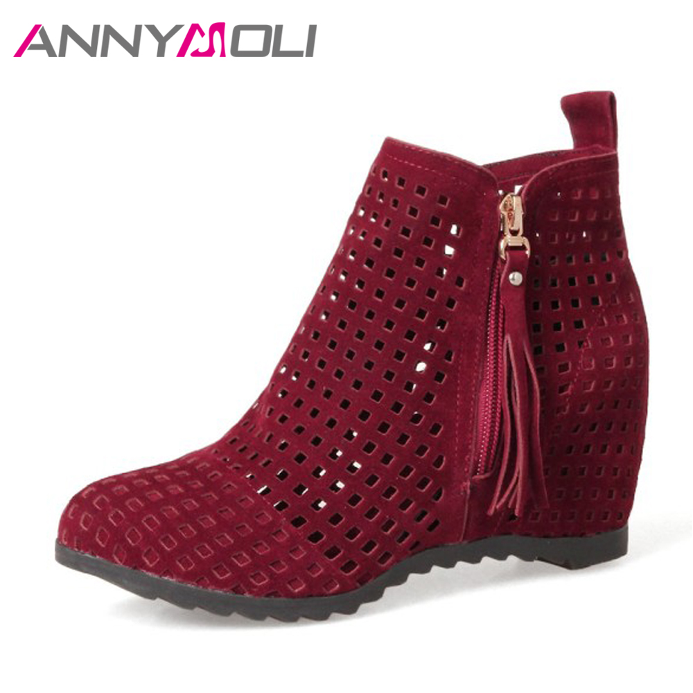 ANNYMOLI Ankle Boots Women High Heels Fringe Boots Increasing Heel Cut Out Zip Shoes Plus Size 42 43 Autumn Boots Zapatos Mujer