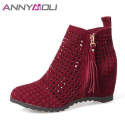 ANNYMOLI Cheville Bottes Femmes Talons hauts Fringe Bottes Talon Augmentation Cut Out Zip Chaussures Plus La Taille 42 43 Automne Bottes Zapatos Mujer