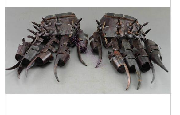 Měď Mosaz Vynikající kovová řemesla Starověké sběratelské předměty Zdobené Ochranné rukavice broušené mědí ve válce