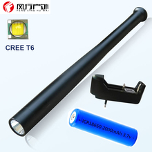 Baseball bat LED tactical flashlight 3000 Lumens CREE T6 aluminum lengthen police flashlight with 18650