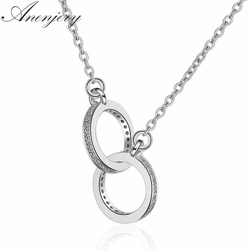 Anenjery 925 Sterling Silver Double Circle CZ Zirconia Necklaces & Pendants For Women Gift kolye choker collares bijoux S-N61