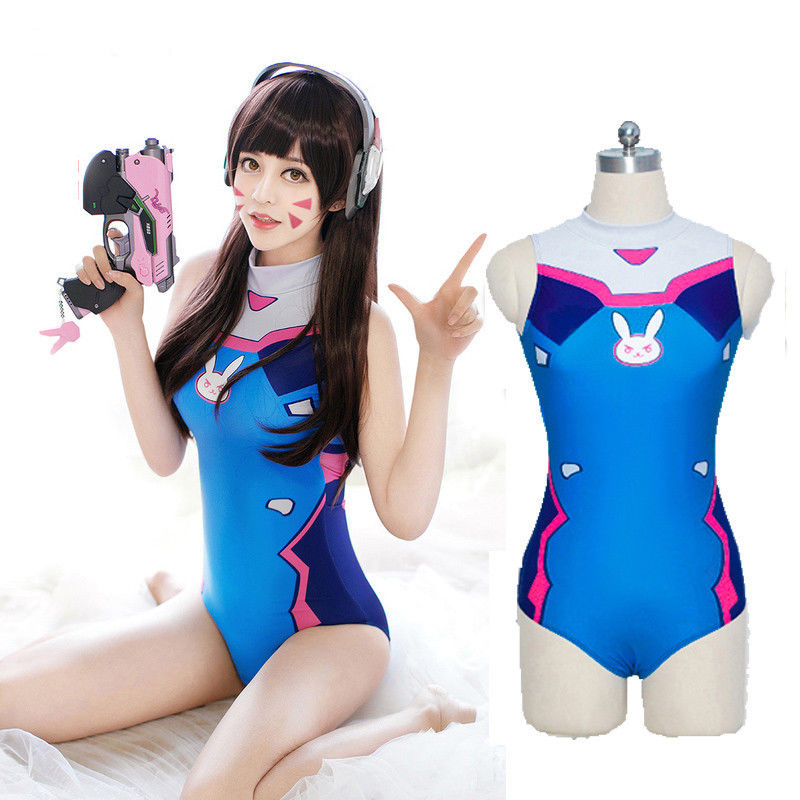 <font><b>Sexy</b></font> Game OW D.VA <font><b>Dva</b></font> Mercy <font><b>Cosplay</b></font> Costume One Piece Swimwear Evangelion EVA Swimsuit image