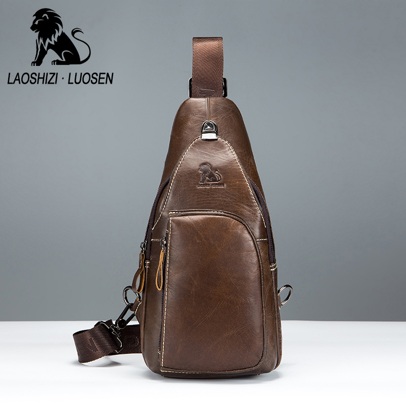 LAOSHIZI LUOSEN men's Shoulder Small Chest Bags Men Genuine Leather Chest Pack man Crossbody Strap Sling Bag Male Messenger Bag laoshizi luosen genuine leather chest bag for men messenger bags vintage crossbody sling bag man shoulder bag small chest pack