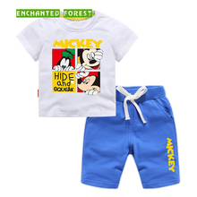Boy short sleeve suit summer T-shirt + shorts two-piece cartoon pattern children baby cotton clothes boy