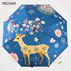 RECHAR Hot Sale High Quality Girl Painting Umbrella Cute Deer Three Folding Umbrella Art Sunscreen Sun