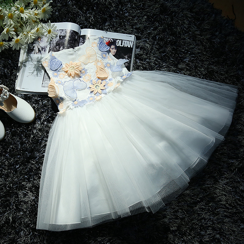 4-10 Year Teenager Tutu Vestido New Lace Flower Girl Dresses Sleeveless Princess Clothing Wedding Birthday Party Gown Dress baby infant girl 1 year birthday party tutu dress 0 3 y toddler sleeveless princess wedding flower girls dresses clothing gdr267