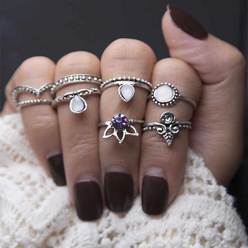 Conjunto de Anillos de joyería de playa anillo de dedo anillo de moda Anillos bohemio antiguo declaración Luna Midi anillo tallado europeo y americano