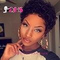 Corto Pelucas de Pelo Humano Del Frente Del Cordón Pelucas Brasileñas Del Pelo Humano Corto Pelucas con Flequillo Pelucas de pelo para Las Mujeres Negras Pixie Nueva Llegada
