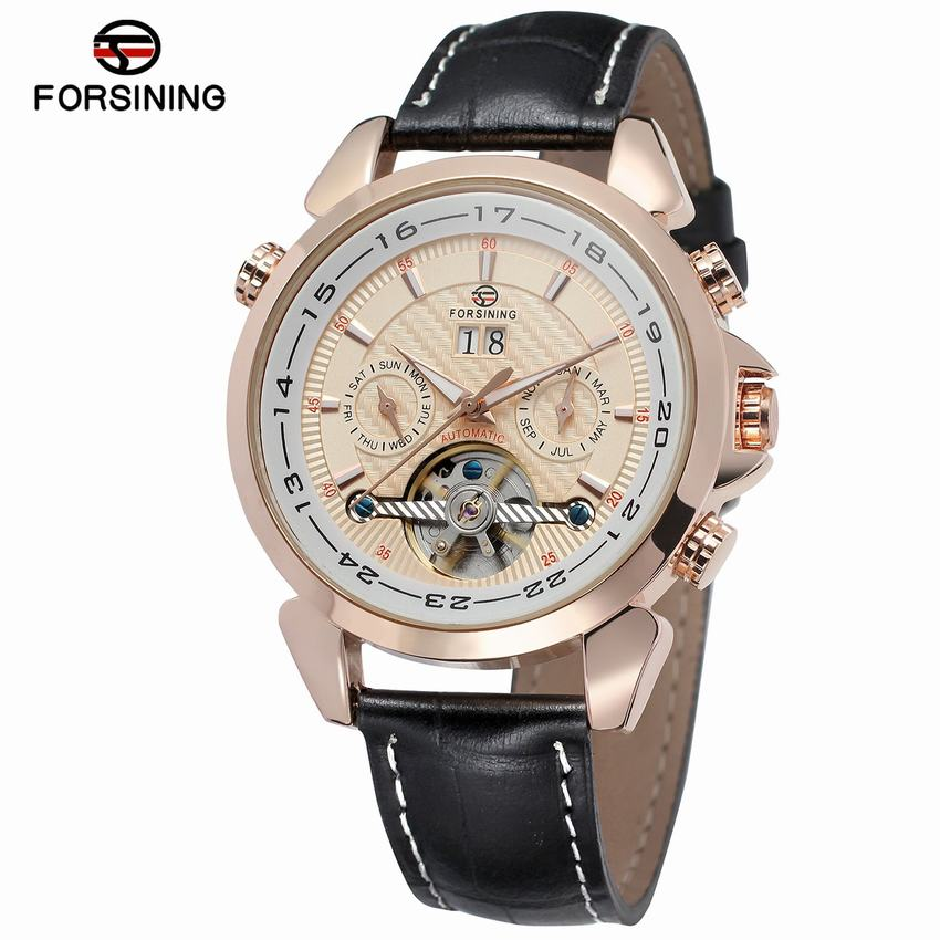 FORSINING Brand Mens Mechanical Automatic Date Display Watch Skeleton Tourbillon Fashion Leather Strap Wristwatch For Business напильник зубр 33392 200 120 эксперт с алмазным напылением полукруглый p120 200мм