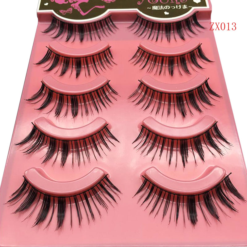5Pairs New Women Lady Natural Soft Black Cross Fake EyeLash Handmade Thick long False Eyelashes Make up extention Tools C171