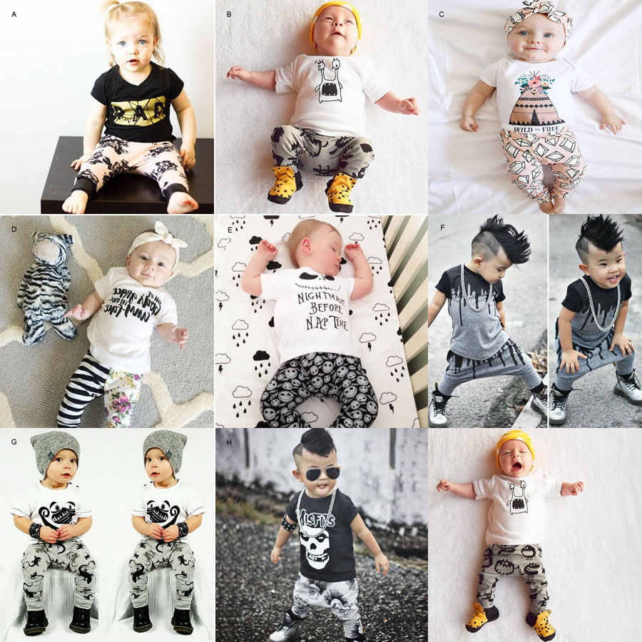 d2fca911f6786 1st Birthday Outfits For Baby Boy Girl 2PC Set Clothes Skull T Shirt Top +Harem