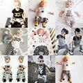 1er Cumpleaños Trajes Para Bebé Niña Niño 2 UNID Conjunto Ropa Skull Camiseta Top + Pantalón Harem Ocasional Traje Recién Nacido de Dos piezas chándal