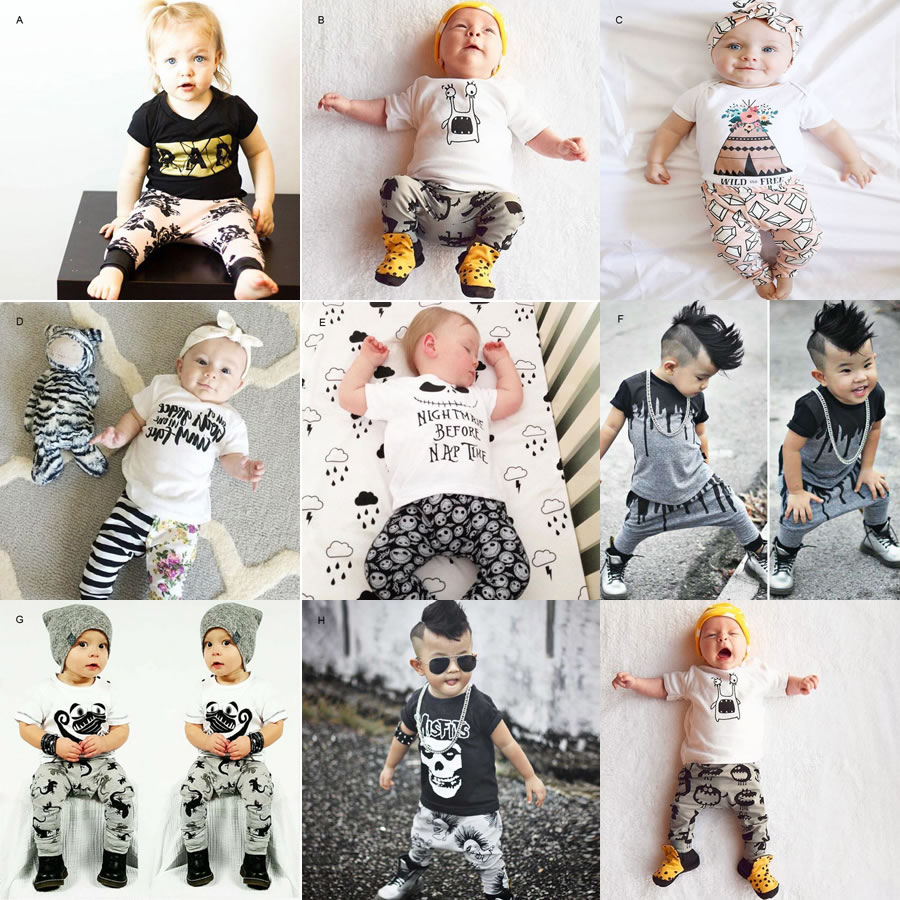 1st Birthday Outfits For Baby Boy Girl 2PC Set Clothes Skull T Shirt Top Harem Pant Casual Suit New Born Two Piece Tracksuit