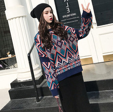 Ethnic Print Woman Loose Sweater Winter New Female Casual Big Knitted Pullover Thick Sweaters Autumn 2019