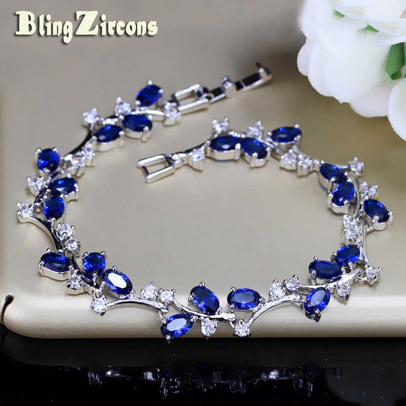 BeaQueen Delicate Oval Dark Blue Stones and Crystals Tennis Bracelet Silver Color Fashion Friendship Jewelry for Women B131