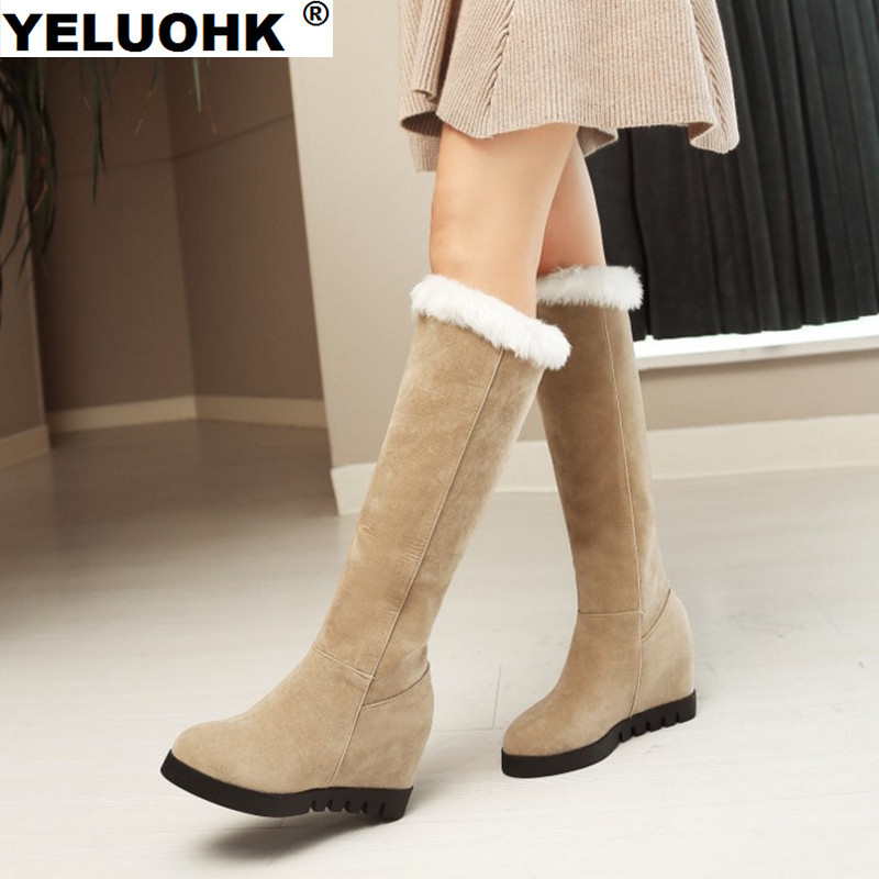 2017 Winter Shoes Women Knee High Boots Fashion Wedge Shoes Snow Boots Women High Heel Pumps Casual Winter Boots For Women nayiduyun women genuine leather wedge high heel pumps platform creepers round toe slip on casual shoes boots wedge sneakers