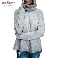 SEBOWEL 2018 Sweaters Women Pullovers Long Sleeve Autumn Winter Tops Knitting Casual Hollow Out Jumper Sweater