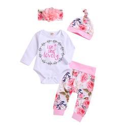 Комплекты для малышей из 4 шт./компл.: комбинезон с принтом + штаны + шапка + повязка на голову, комплект одежды для малышей на осень, новый