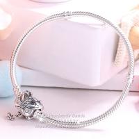 925 Sterling Silver Decorative Butterfly Charm Bracelet Clear CZ Clasp Standard Snake Chain Charm Bracelet Fit DIY Jewelry Charm