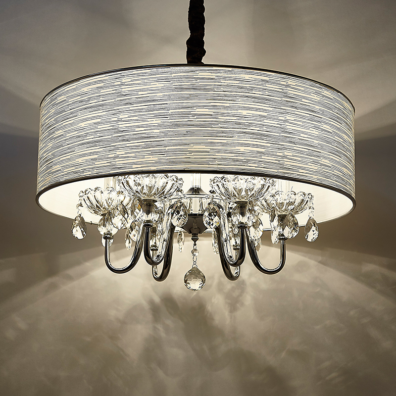 Modern crystal creative hall dining room bedroom lamp K9 crystal round cloth art study hanging lamps pendant light ZH modern crystal chandelier hanging lighting birdcage chandeliers light for living room bedroom dining room restaurant decoration