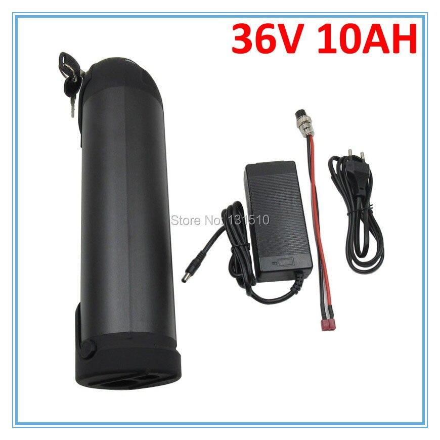Batterie au Lithium 36V EBike de haute qualité 36V 10Ah avec boîtier en aluminium de bouteille d'eau construit en 18650 cellule 15A BMS avec chargeur 42V 2A