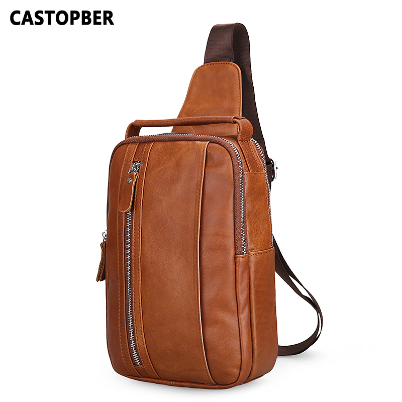 Genuine Leather Men Shoulder Bag Fashion Trending Leather Men's Crossbody Bag Chest Pack Men Bags Famous Brand High Quality Bags men s bags chest pack casual single shoulder back strap male bag split leather high capacity chest bag crossbody leather