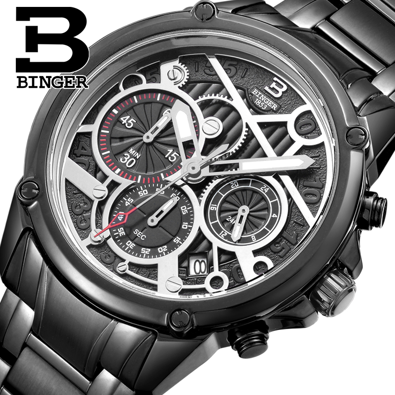 BINGER Mens luxury Switzerland Wristwatches Stainless steel Calendar Quartz Watch Chronograph waterproof Business Watches B6008
