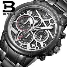 BINGER Hommes de luxe Suisse Montres en acier Inoxydable Calendrier Quartz Montre Chronographe étanche D'affaires Montres B6008