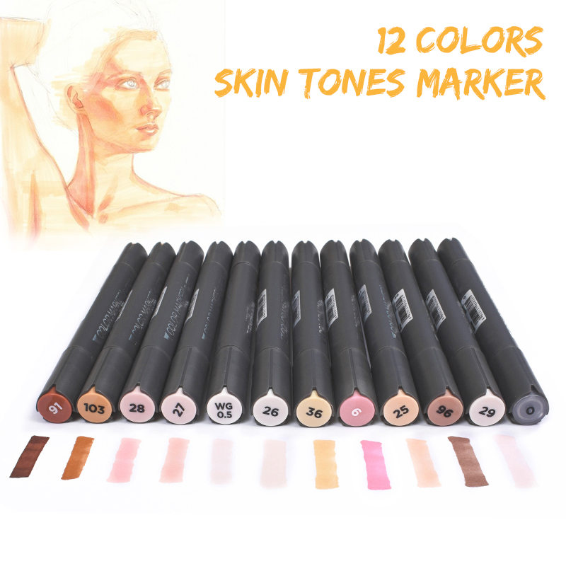 STA 12 Color Skin/Grey/Bronze Tones Marker Pen Set Dual Tips Alcohol Based Art Markers Professional Drawing Pens Art Supplies