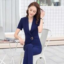 10ca9d575 2018 verano nuevas mujeres elegante falda traje azul y negro manga corta  negocios trajes señoras temperamento simple mujer traje.