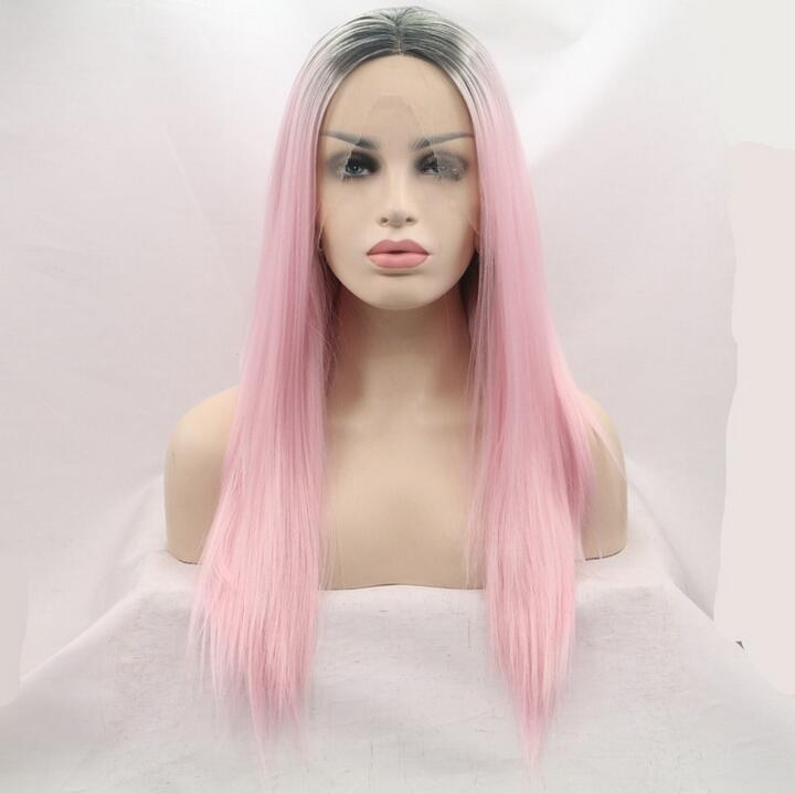two tone dark roots ombre pink lace front wig synthetic glueless with strap and comb