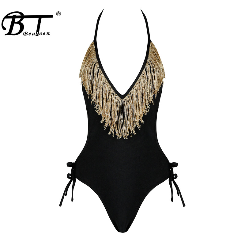Beateen Solid Bodycon Women Swimsuits Sexy Halter Deep V Backless Women Bodysuits Fashion Tassel Lace Up Bandage Lady Romper