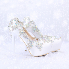 2016 Satin AB Color Crystal Round Toe Bridal Dress Platform Shoes Wedding High Heels Banquet Pageant