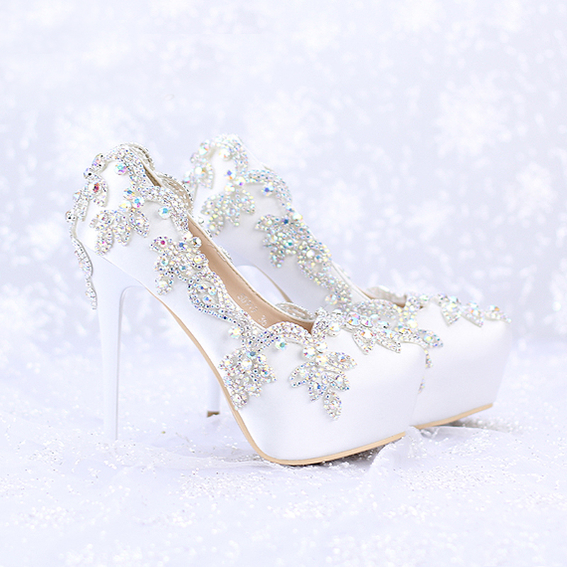 2016 Satin AB Color Crystal Round Toe Bridal Dress Platform font b Shoes b font Wedding