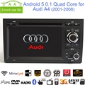 "Android 5.0.1 Quad Core 1024*600 GPS Навигации 7 ""Dvd-плеер Автомобиля для Audi A4 2001-08 с Bluetooth/RDS/Радио/Canbus/Mirrorlink"