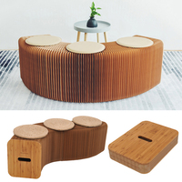 Creative Folding Paper Stool Long Bench Sofa Chair Kraft Paper Relaxing Stool Bench Relaxing Office Chair With 3 Leather Pads