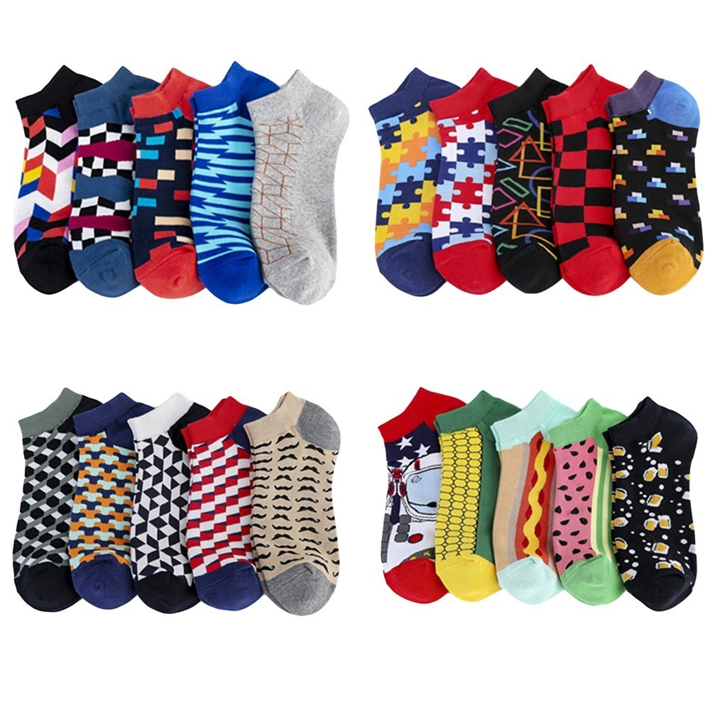 PEONFLY 5pairs/lot New 2019 Summer Ankle Socks Men Casual Novelty Colorful Happy Socks Combed Cotton Plaid Dress Boat Socks