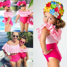 New Style Family Matcjing Mommy And Me Women Kids Baby Girls Clothes Set Swimsuit Swimwear Beachwear Ruffle Bikini Set(China)