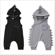 Cute Newborn Infant Baby Boy Girl Dinosaur Hooded Rompers Jumpsuit Cotton Summer