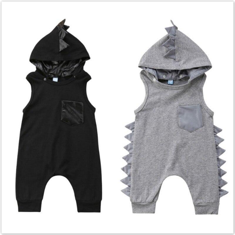 Mignon nouveau-né infantile bébé garçon fille dinosaure à capuche barboteuses combinaison coton été bébé vêtements noir gris 3M 6M 12M 18M 24M