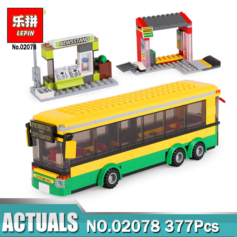 Lepin 02078 377Pcs The Bus Station Set 60154 Model City Series Building Blocks Bricks Educational Toys As Kids Birthday Gifts town bus station lepin city building blocks sets kits bricks model kids classic toys marvel compatible legoe