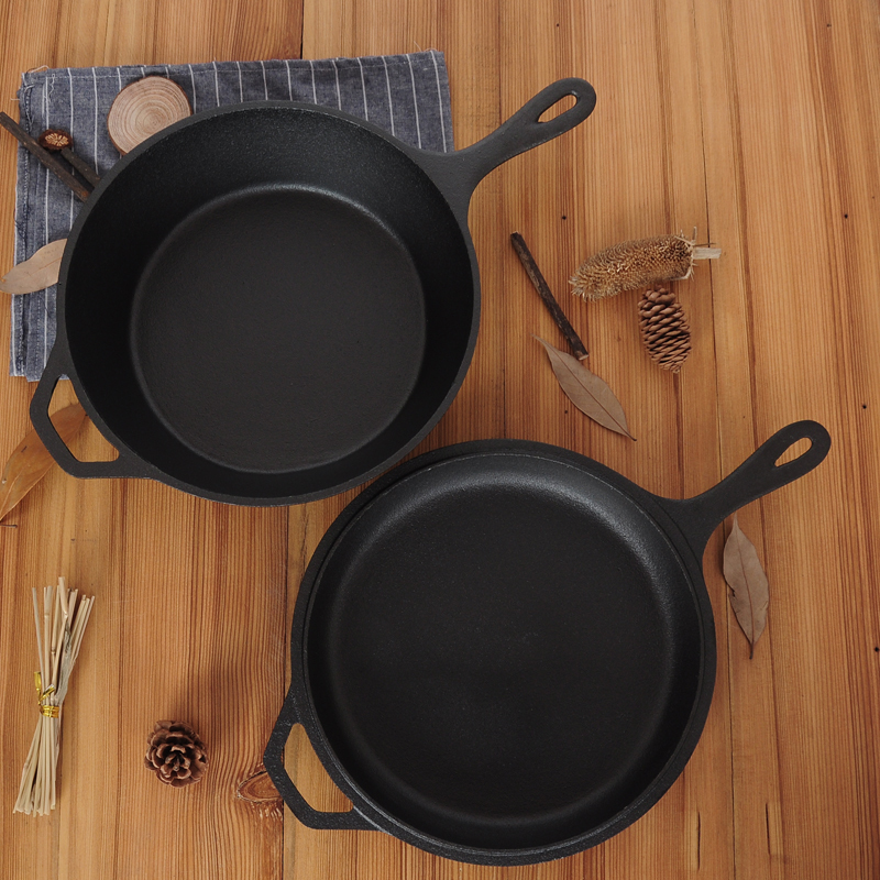 Heavy Raw Cast Iron Dual-Purpose Thickened Non-Stick Frying Pan 2