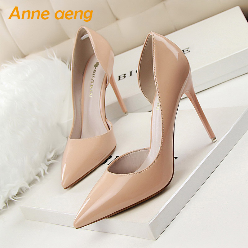 2019 New Spring/Autummn Women Pumps 10.5cm High Thin Heel Pointed Toe Fashion Sexy Ladies Women Shoes Nude Female High Heels