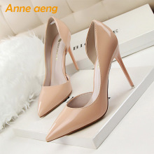 цена 2019 New Spring/Autummn Women Pumps 10.5cm High Thin Heel Pointed Toe Fashion Sexy Ladies Women Shoes Nude Female High Heels онлайн в 2017 году