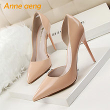 2019 New Spring/Autummn Women Pumps 10.5cm High Thin Heel Pointed Toe Fashion Sexy Ladies Women Shoes Nude Female High Heels(China)