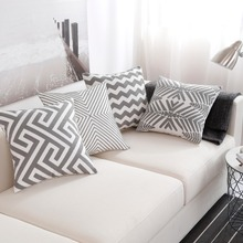Nordic Style Thick Cushion Cover Fashion Gray Embroidery Geometric Pillow Cover 45cm*45cm Home Office Cushion Cover Car pillows цены