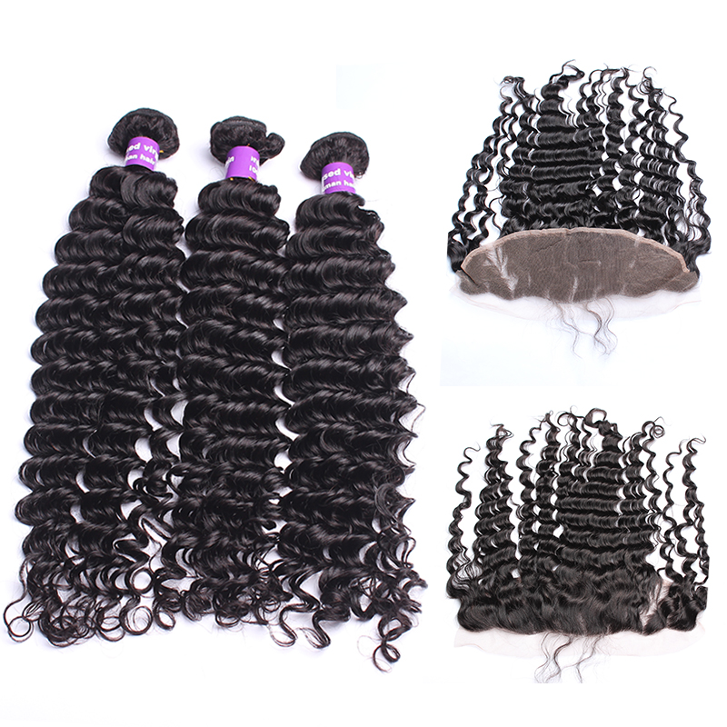 13x4 Lace Frontal Closure With Bundles Brazilian Deep Wave 3Pcs Human Hair Bundles With Closure Remy Cara Hair Products
